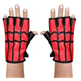 Costume Spiderman homecoming Spider-Man gloves REAL Leather Gloves (Large) (Color: Red, Tamaño: Large)