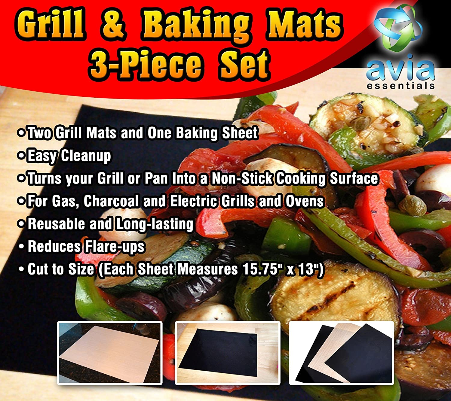 Grill Mat and Baking Sheet 3-Piece Set-Non-stick Economical Way to Grill