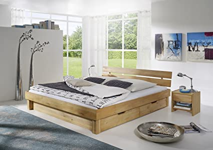 Bett Doppelbett 'Lewis' 160x200cm Kernbuche massiv geölt Holz mit Schubkästen