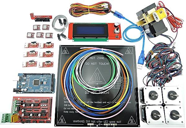 Sintron] 3D Printer Electronics Full Kit, RAMPS 1.4 + Mega 2560 + MK3 Heatbed Heat Bed + LCD2004 + Stepper Motor + MK8 Extruder + A4988 Stepper Motor Driver + Endstop for DIY RepRap Prusa i3 Kossel