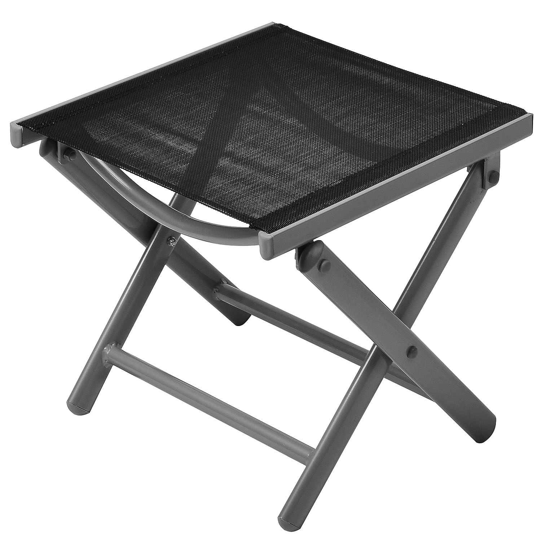 Nexos Hocker, Sitzhocker, Schemel für Garten, Terrasse, Balkon Camping, aus Aluminium, passend zum Gartenstuhl, Klappstuhl, leicht, stabil, NICHT klappbar, schwarz jetzt bestellen