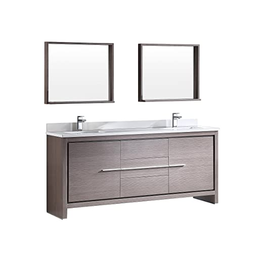 "Fresca Bath FVN8172GO Allier 72"" Modern Double Sink Bathroom Vanity with Mirror, Gray Oak"