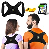 Back Posture Corrector for Women and Men + Resistance Band - Trains Your Back Muscles to Prevent slouching and Provides Back Pain Relief (Regular) (Color: Dark Black, Tamaño: Regular)