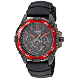 Casio Men's MTD1069B-1A2 Round Analog Black and Red Dial and Black Resin Strap Watch (Color: Black)
