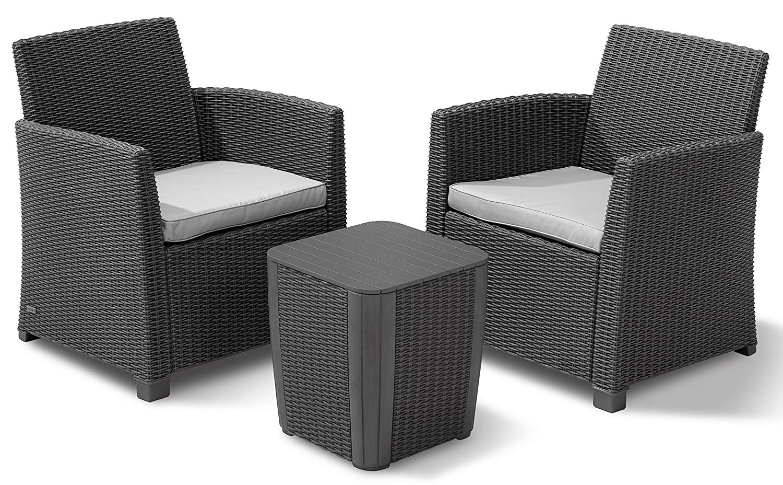 Allibert 223817 Lounge Set Corona Balcony, 2 Sessel, 1 Tisch, Rattanoptik, Kunststoff, graphit jetzt kaufen