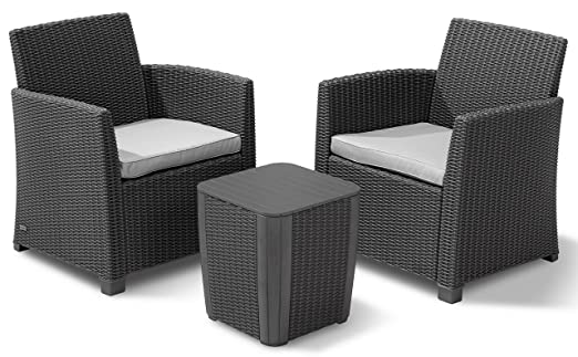 Allibert 223817 Lounge Set Corona Balcony, 2 Sessel, 1 Tisch, Rattanoptik, Kunststoff, graphit