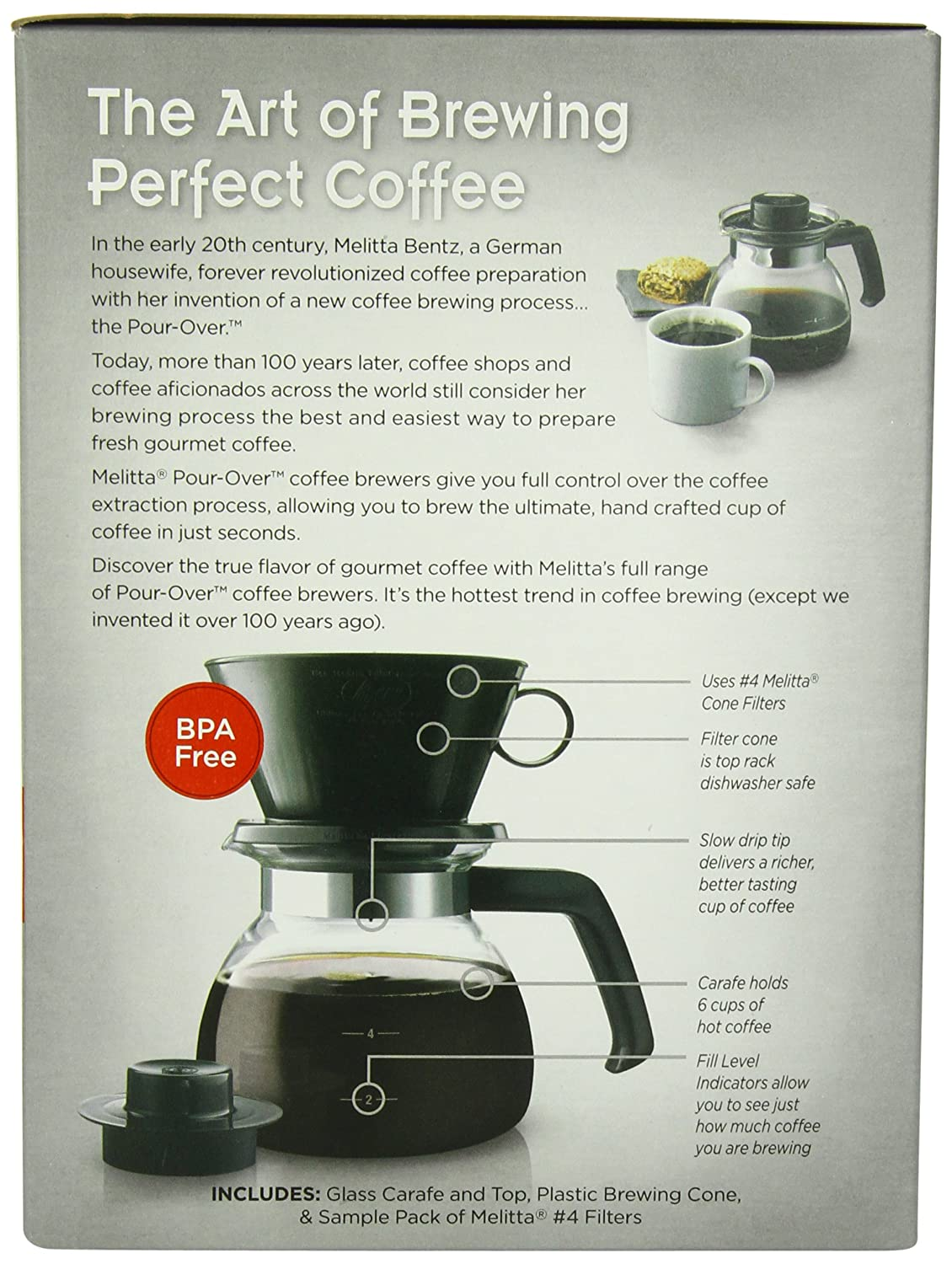 Melitta Coffee Maker, 6 Cup Pour-Over Brewer with Glass Carafe, 1-Count , New, F 55437640442 eBay