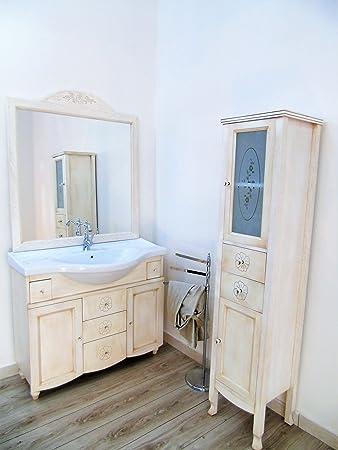 Arredo bagno contemporaneo con colonna decapato mobile bagno con swarovsky 105 cm