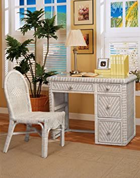 Santa Cruz Wicker Desk and Chair Whitewash