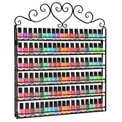 Professional Black Metal Nail Polish Mountable 6 Tier Organizer Display Rack - MyGift