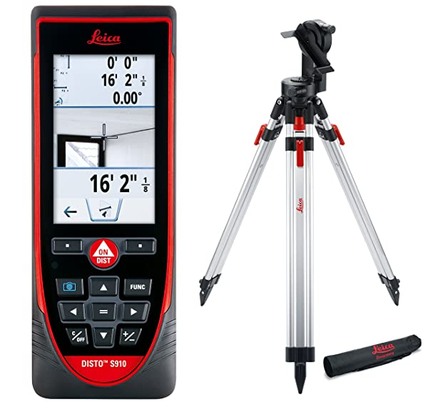 Leica DISTO S910 984ft Laser Distance Measurer, Point to Point Measuring, Red/Black (Exterior Package) (Color: Red, Black)