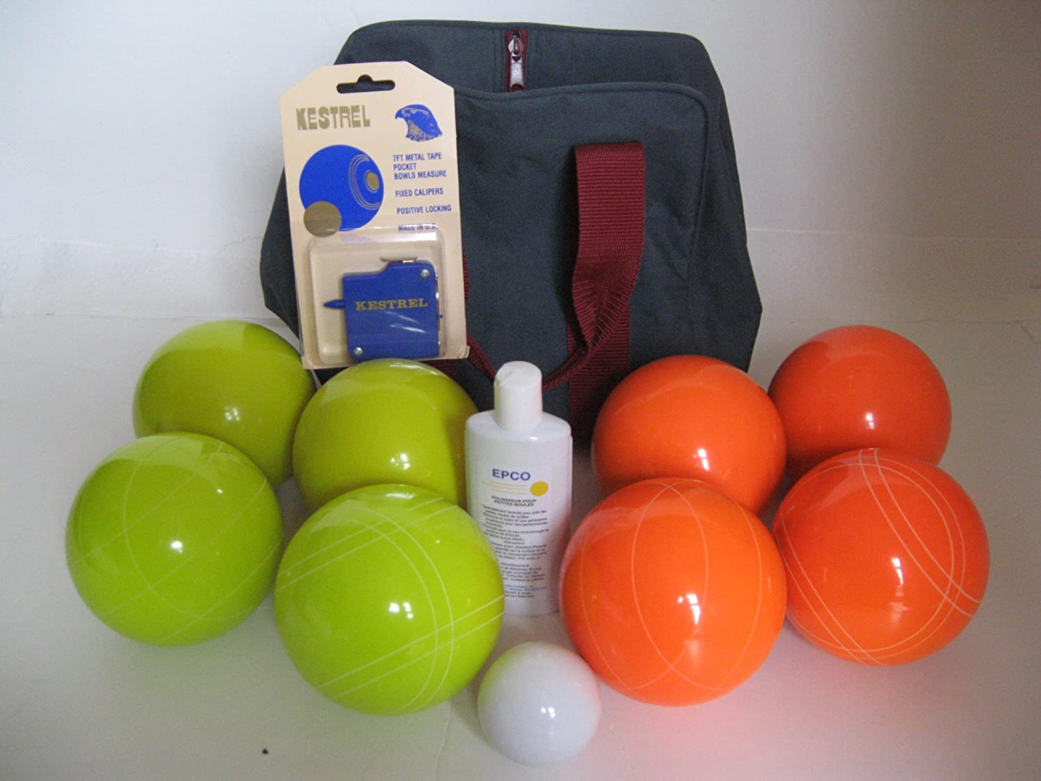 Premium Quality Basic EPCO Bocce package - 107mm Yellow and Orange balls, qua...