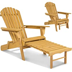 Outdoor Adirondack Foldable Wood Chair with Pull Out Ottoman