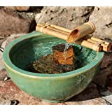 Bamboo Fountain with Pump Medium 12 Inch Three Arm Style, Indoor or Outdoor Fountain, Natural, Split Resistant Bamboo, Combine with Any Container to Create Your Own Fountain, Handmade (Color: Natural, Tamaño: Medium)