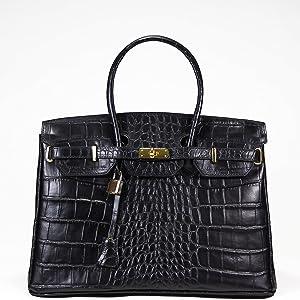 100% CUIR Véritable-MONTE CARLO BAGS - Sac Main Italie - genuine leather bag -ledertasche (NOIR /CROCO)   Commentaires en ligne plus informations