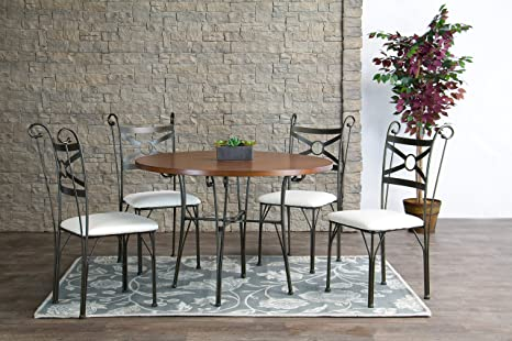 Baxton Studio Edinburgh Wood and Metal 5-Piece Contemporary Dining Set
