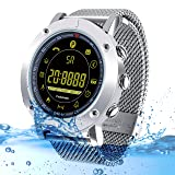 Kingkok Bluetooth Outdoor Smart Sports Watch with Steps Counter Calories Stopwatch Phone Reminder Waterproof Digital Smartwatch [Silvery] (Color: silvery)