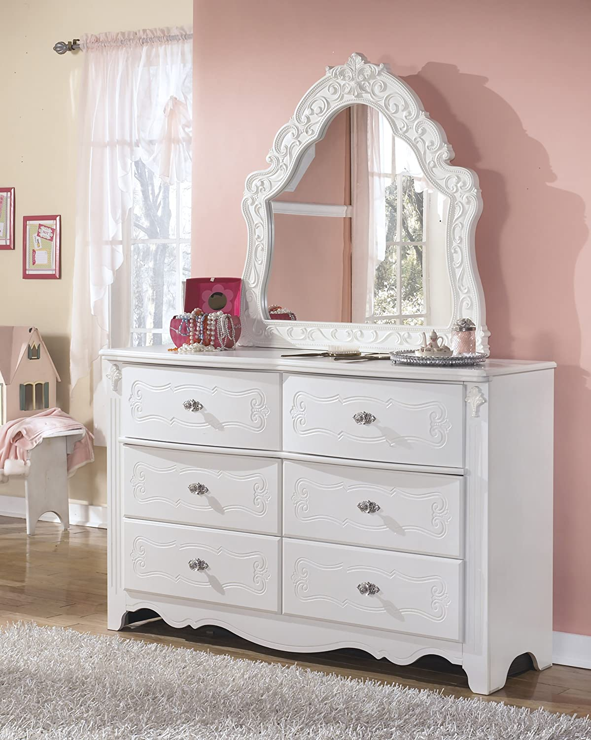 Exquisite French Style Youth Wood Dresser and Mirror in White Color