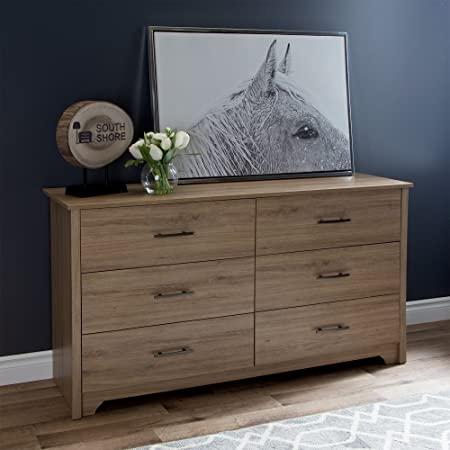 South Shore Fusion 6-Drawer Double Dresser, Rustic Oak