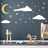 Moon, Stars and Clouds Wall Decals, Kids Wall Decoration, Nursery Wall Decal, Wall Decal for Nursery, Vinyl Wall Stickers for Children Baby Kids Boys Girls Bedroom(Y08) (White,Gold) (Color: White,Gold)