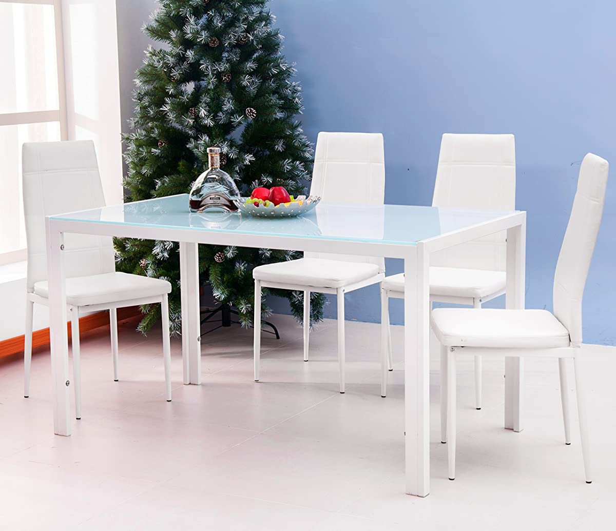 Modern 5pc Dining Table Set Kitchen Dinette Chairs: Merax 5PC Glass Top Dining Set 4 Person Dining Table And