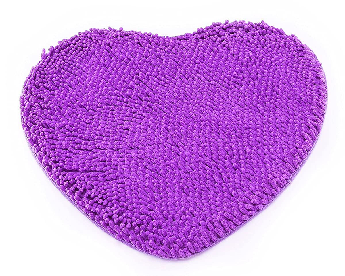 Hughapy Super Soft Lovely Heart Love Shaped area rug,Anti-skid Chenille Door Mat christmas carpet for Home Bedroom 50cm60cm with 10 colors,Purple
