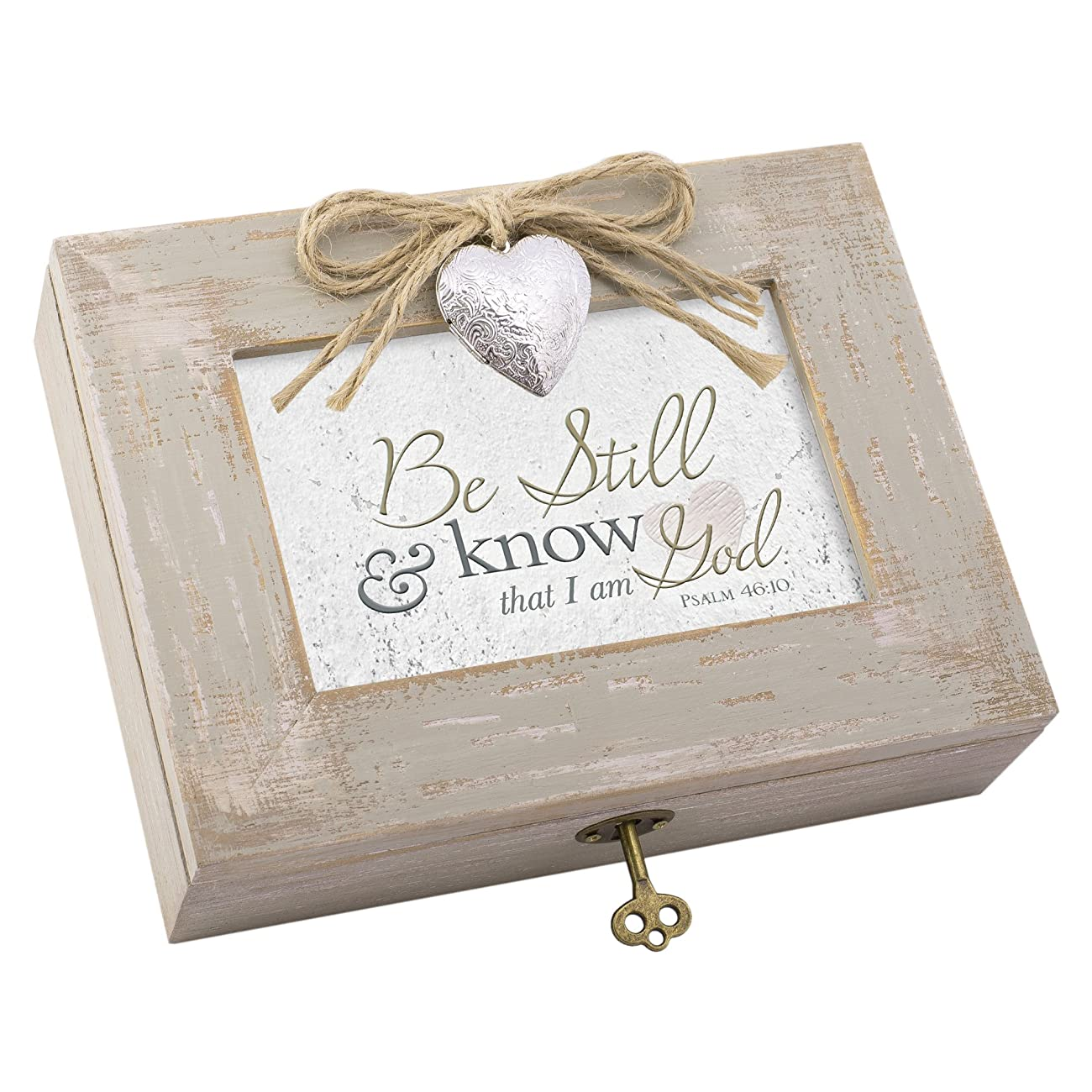 Be Still & Know That I am God Distressed Wood Locket Jewelry Music Box Plays Tune Amazing Grace 0