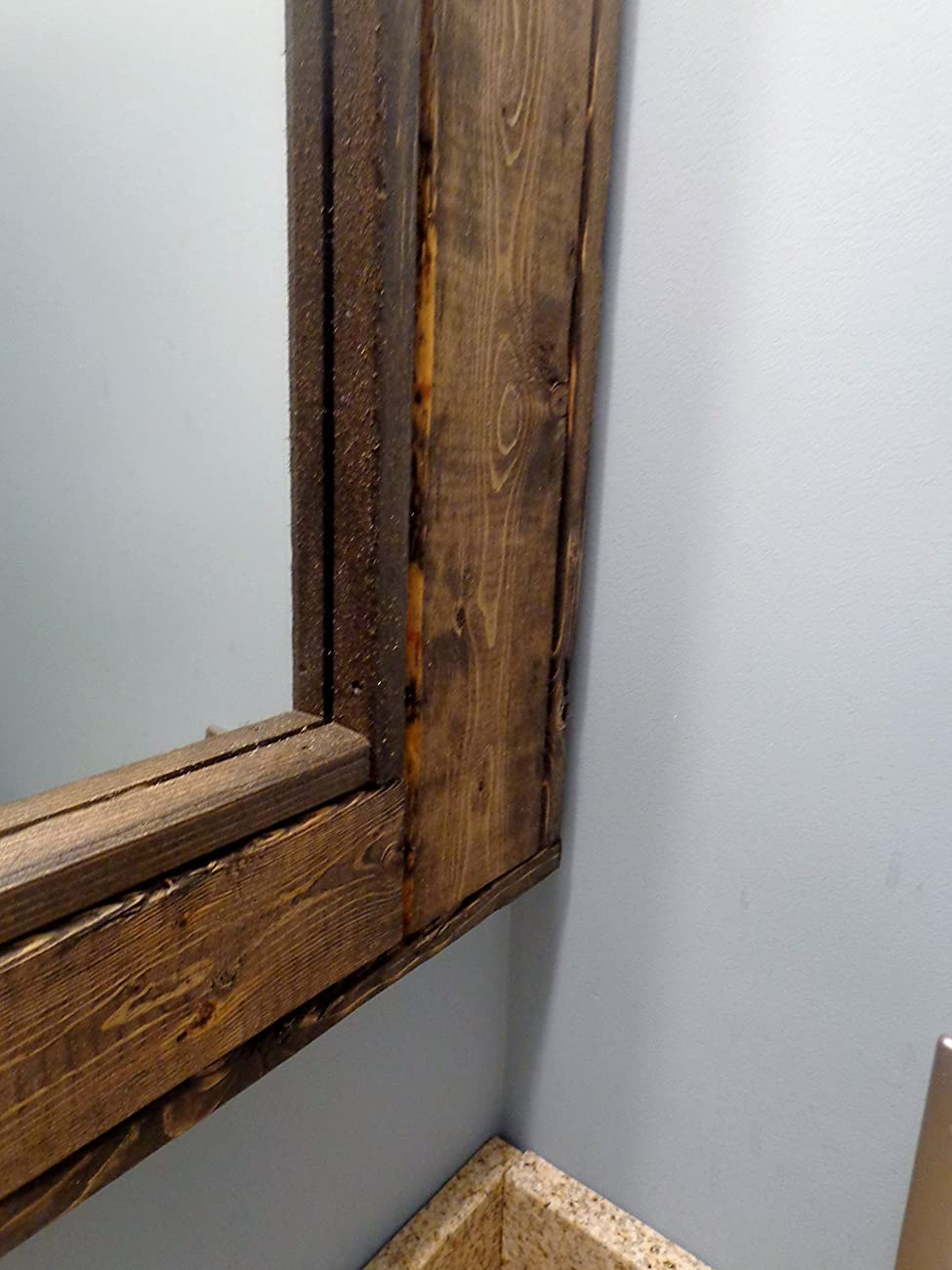 Bathroom Vanity Window Mirror - Reclaimed Wood Mirror - Large Wall Mirror - Rustic Modern Home - Home Decor - Mirror - Housewares - Woodwork	 2