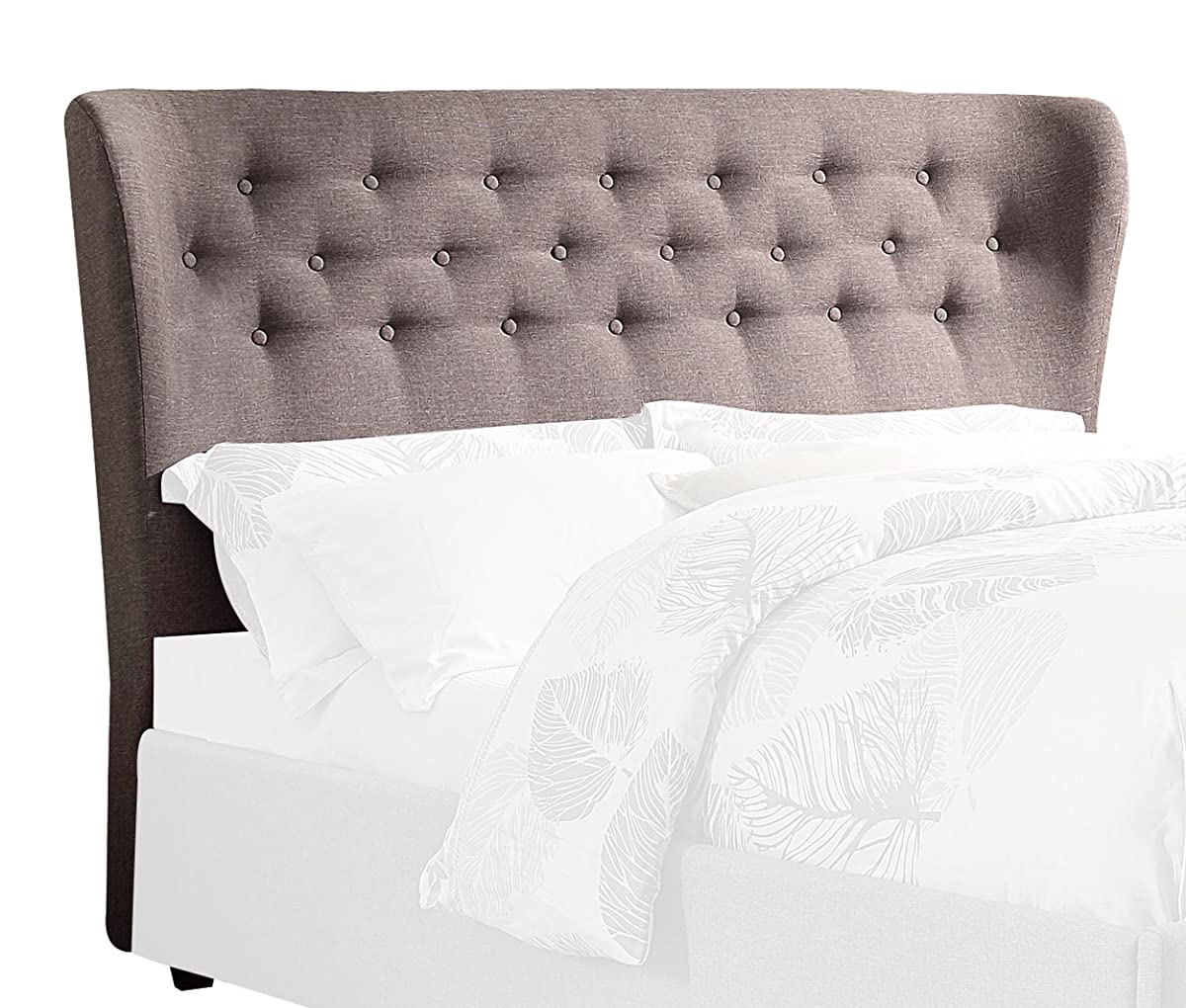 Homelegance Wade Button Tufted Upholstered Wing Headboard, Grey, Queen