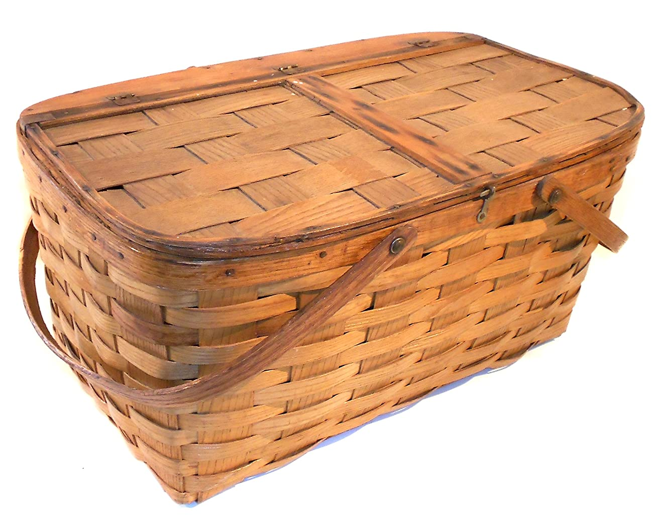 Great Old Vintage Primitive Oak Woven Oak Splint Picnic Basket 0