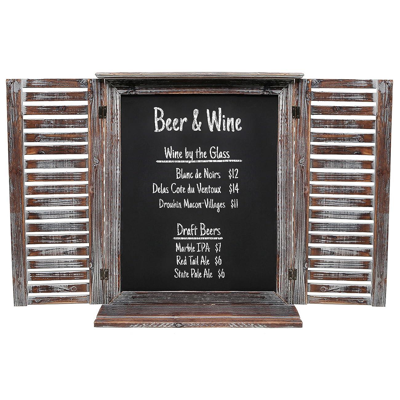 Rustic Vintage Wood Standing Chalkboard / Wall Mounted Blackboard w/ Folding Shutter Doors - MyGift® 0
