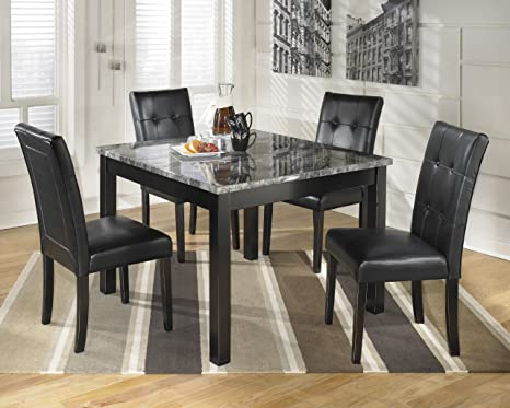 Maysville 5 Piece Contemporary Square Marble Top Dining Table Side Chair Set