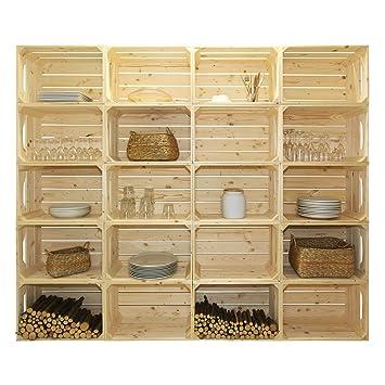 Bibliothèque 20S - Kit prêt à assembler - caisses en bois (x20) - Fabriquée main en France