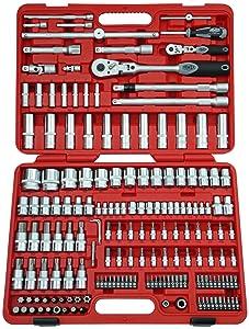 Famex Werkzeug 52518 Steckschlüsselsatz mit Gelenkknarren, 12.5 mm (1/2Zoll) und 6.3 mm (1/4Zoll)Antrieb, 432 mm, 174teilig  BaumarktBewertungen