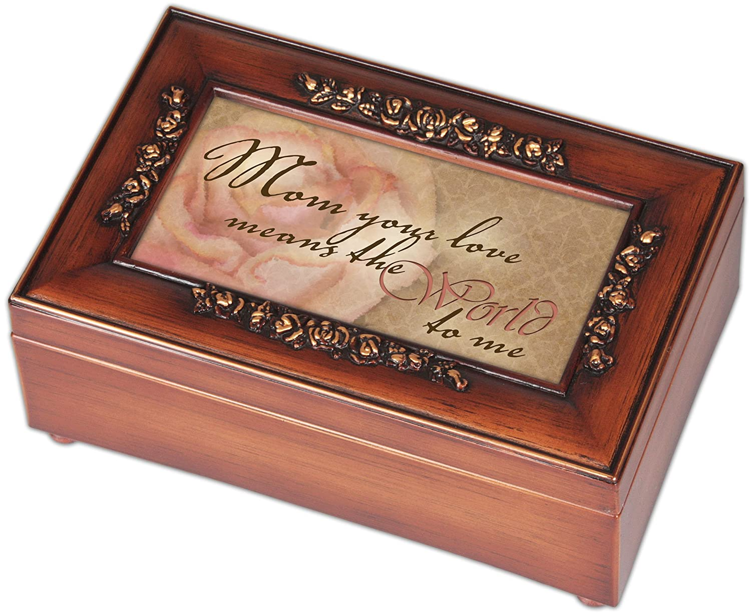Mom Your Love Woodgrain Rose Mother Gift Music Jewelry Box-Plays Wind Beneath My Wings by Cottage Garden