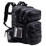 SERGEANT Military Tactical Backpack, 1050D Ballistic Nylon, YKK Zippers, UTX Buckles, Molle. 40L 3-Day, Assault Pack, Bug Out Bag, Rucksack, Daypack, Range, School, Camping, Hiking, Hunting.