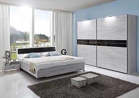 """Schlafzimmer-Set """"ACAPULCO"""" Komplettset Doppelbett Nachtkommoden Kleiderschrank Bett 180 x 200 Weißeiche Abs. Glas Grey"""