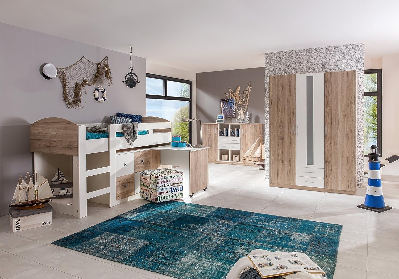 Jugendzimmer mit Bett 90 x 200 cm Eiche Sanremo/ alpinweiss günstig online kaufen