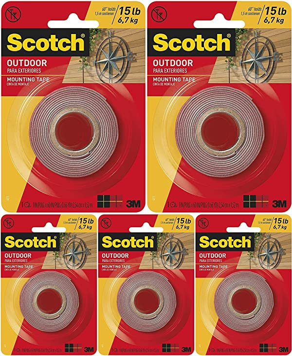 411P Scotch Mounting 1-inch inches Gray x 60-inches 15 Pound 1 1-Roll Fastening /& Surface Protection Scotch Outdoor Mounting Tape