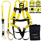 Spidergard SPKIT02 Single D-Ring Full Body Fall Protection Safety Harness Combo with 6 foot Shock Absrober Rebar Hook Lanyard (Yellow, L-XL) (Color: Yellow Black, Tamaño: 1 Pc)
