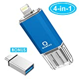 USB Flash Drive for iPhone Photo Stick 128GB Memory Stick iPhone Backup Flash Drive Photostick Mobile, Thumb Drive USB 3.0 Compatible iPhone/iPad/Android Backup OTG Smart Phone Qarfee Blue. (Color: blue, Tamaño: 128GB)