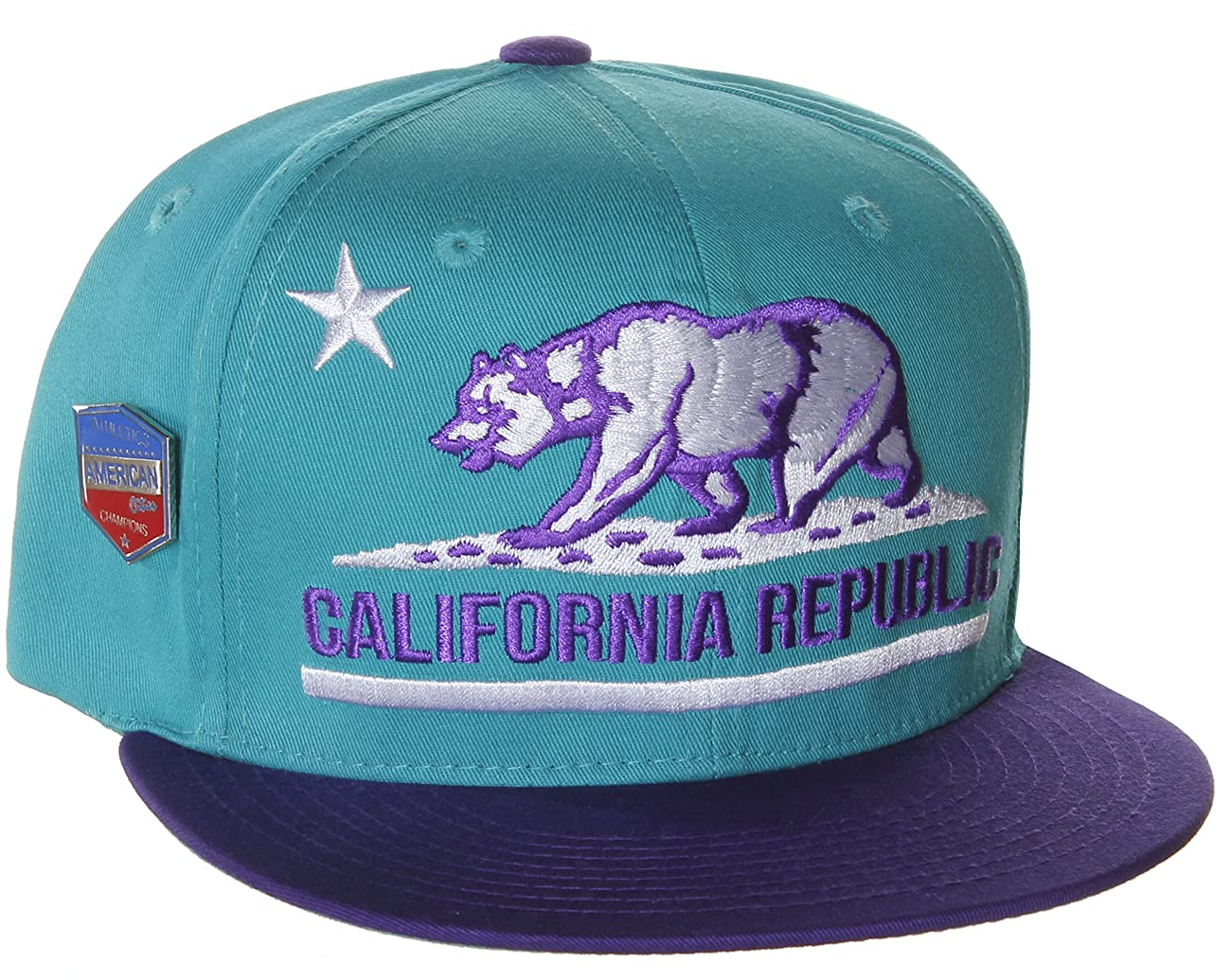 California Republic Flat Bill Vintage Style Snapback Hat Cap 0