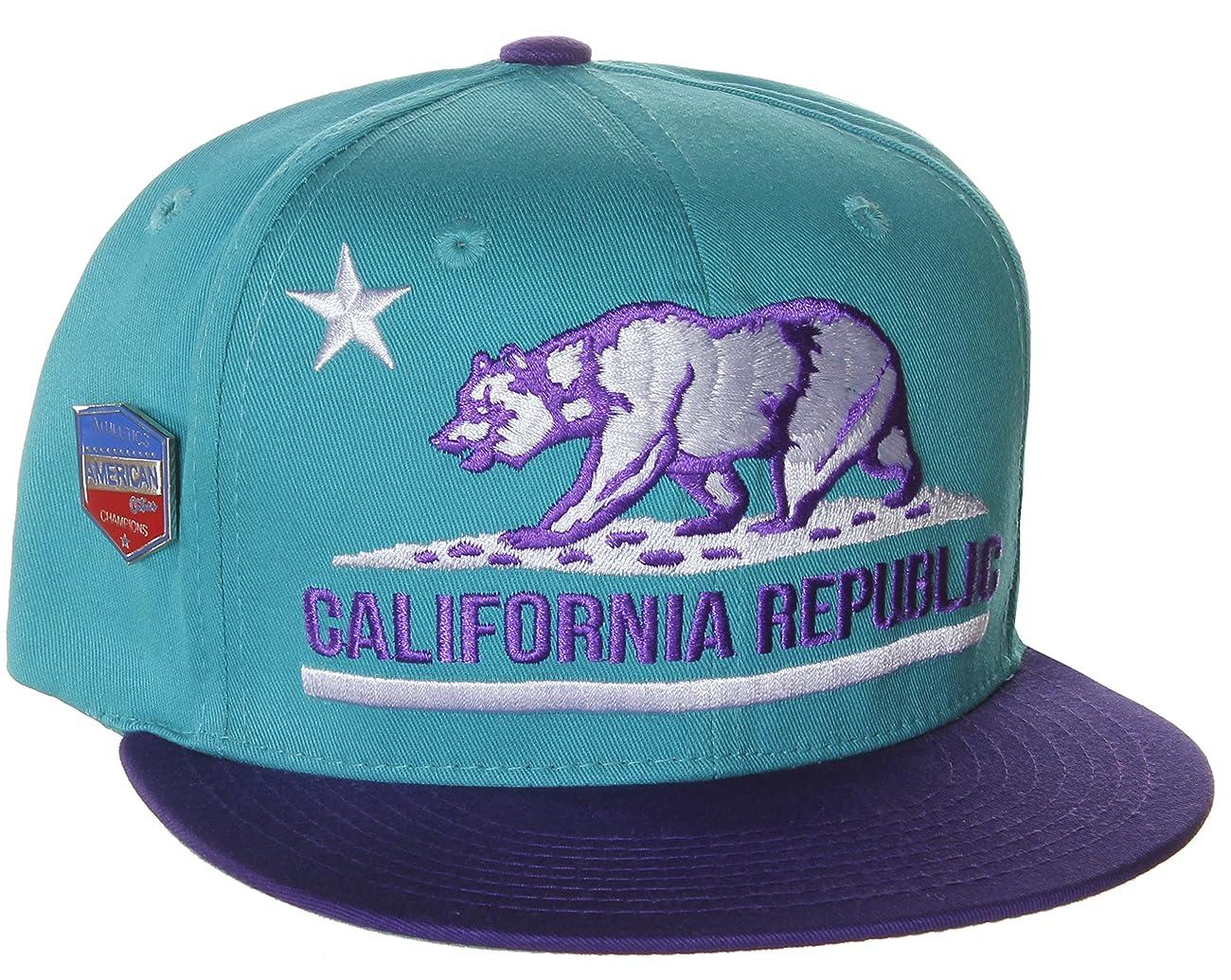 California Republic Flat Bill Vintage Style Snapback Hat Cap 0