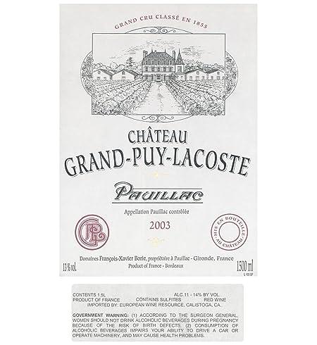 2003 Grand Puy Lacoste, Bordeaux 1.5 L at Amazon's Wine Store