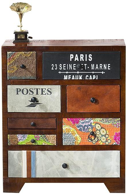 SIT-Möbel 1410 - 30 - Mobile Wood e tessuto, legno di mango in juta, 60 x 30 x 85 cm, multicolore