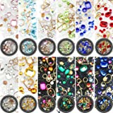 Yaomiao Nail Art Rhinestones Flatback Diamonds Crystals Beads Gems Mixed Colorful for Nail Art Decorations DIY Design (Set 2, 12 Boxes) (Color: 12 Boxes, Tamaño: Set 2)