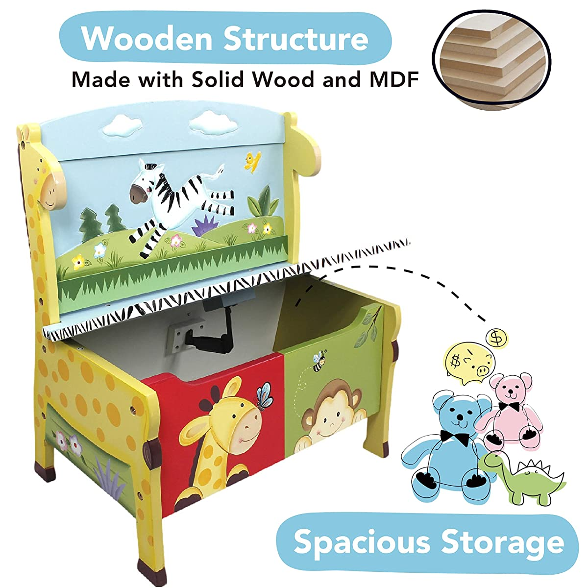 Animals Thematic Kids Storage Bench Hand Painted
