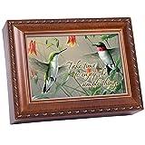 Cottage Garden Hummingbirds Woodgrain Music Box Plays Wind Beneath Wings