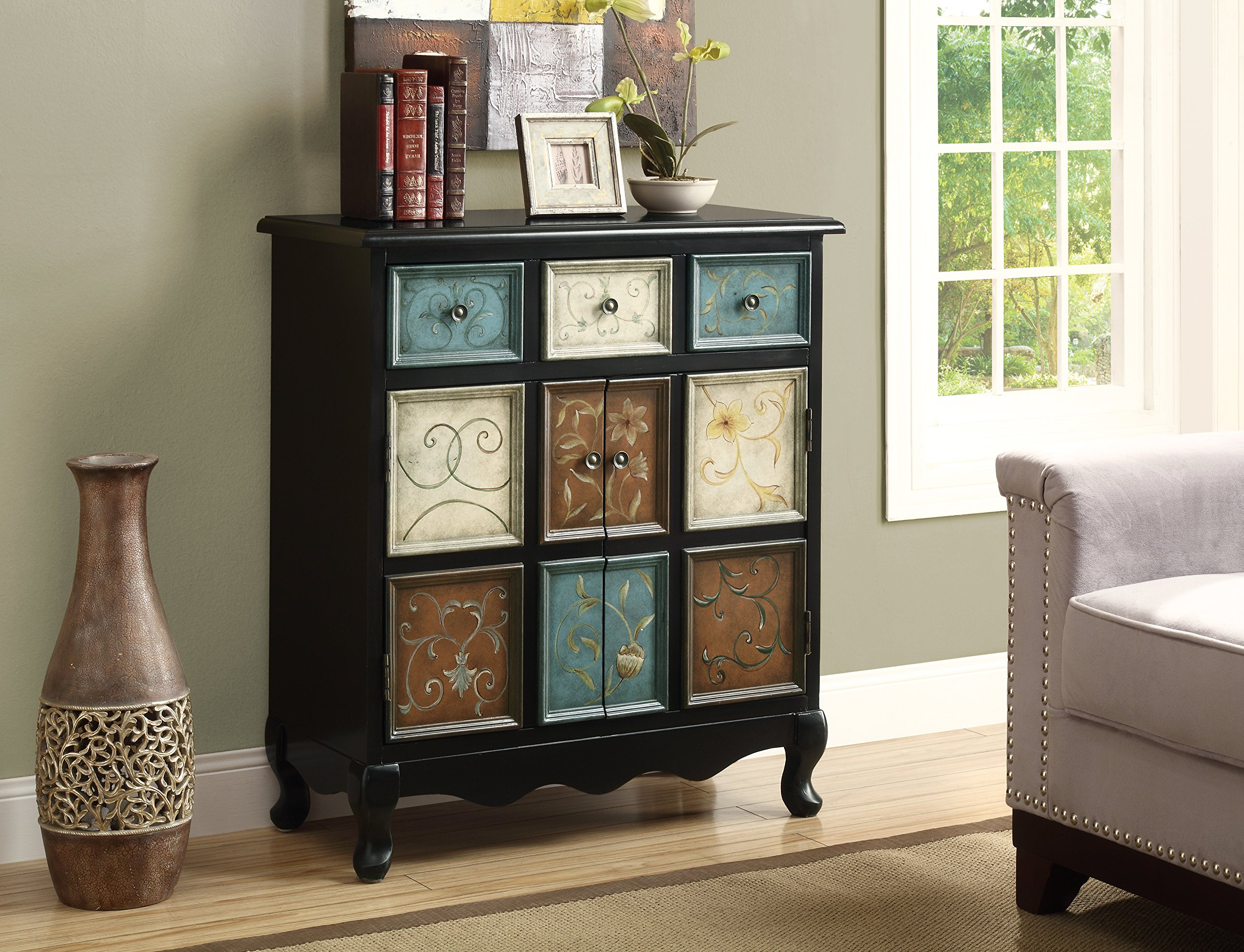 Monarch Apothecary Bombay Chest, Distressed Black/ Multi Color