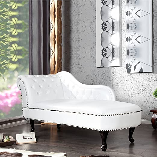 "DESIGN CHAISELONGUE ""ROYAL"" armchair artificial leather 67"" white"